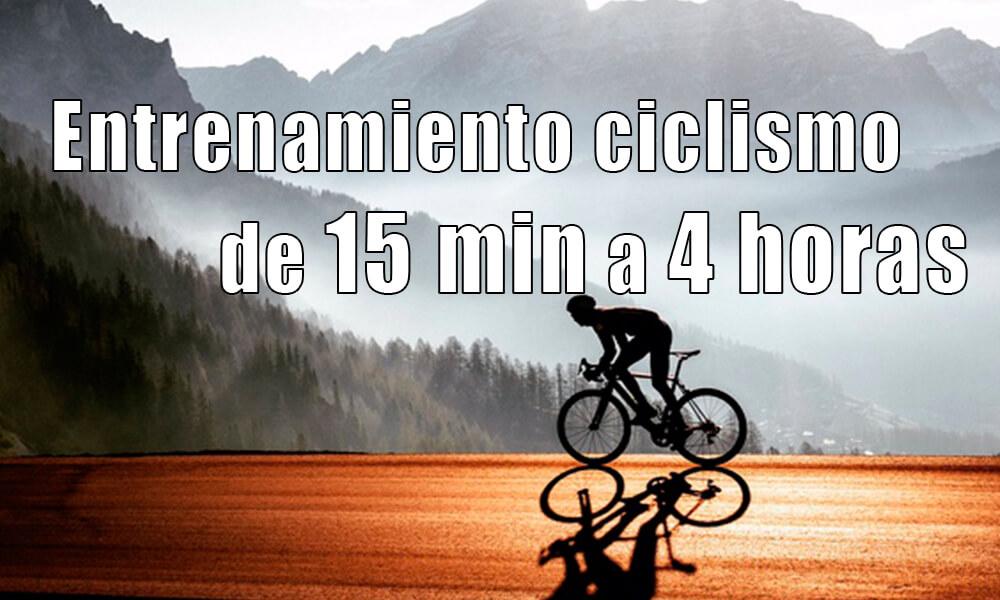 Sesiones ENTRENAMIENTO ciclismo de 15 min a 4 horas | Planes