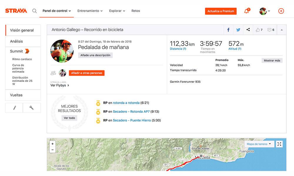 aplicacion ciclismo strava datos