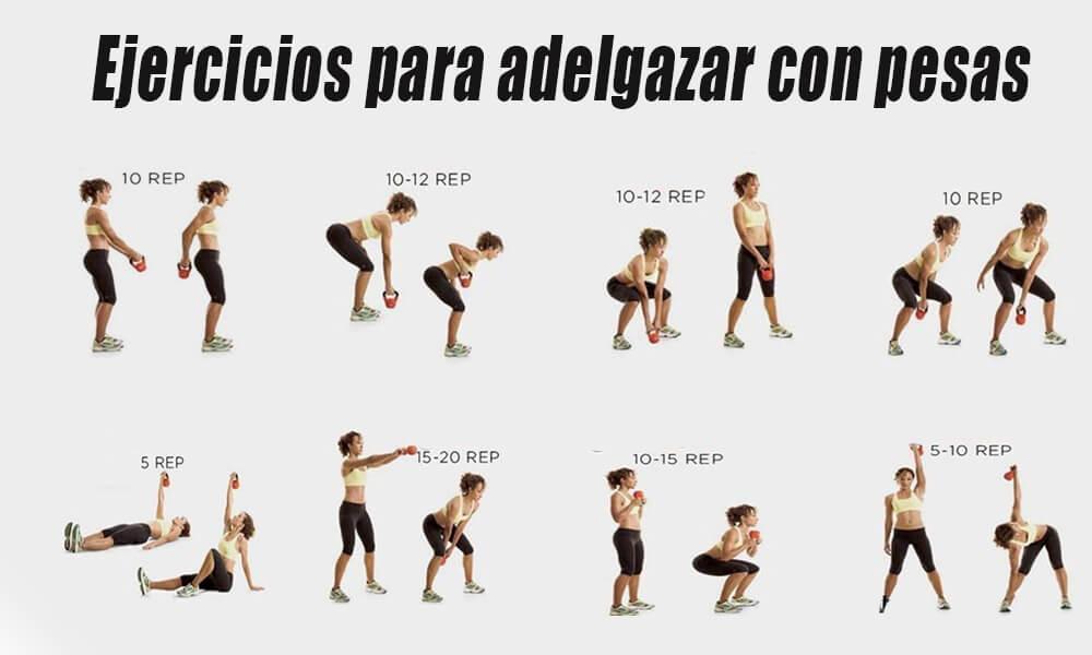 tabla de ejercicios para adelgazar con pesas