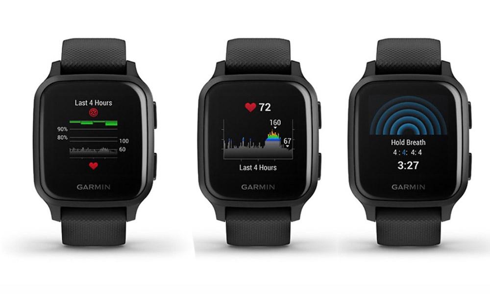 Garmin Venu SQ frecuencia cardiaca pantallas